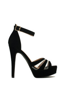 Clearly Strappy Faux Nubuck Heels