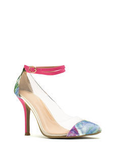 Clearly Floral Ankle Strap Heels