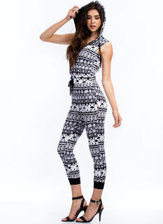 Say What Hooded Abstract Print Jumpsuit