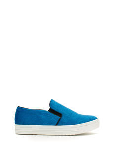 Furry Piped Slip-On Sneakers