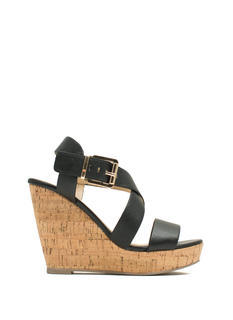 Crisscross Ur Heart Faux Leather Wedges