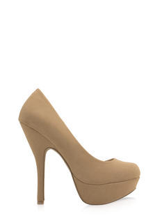 Boost Of Confidence Faux Nubuck Heels
