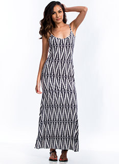 Abstract Leaves Maxi Dress