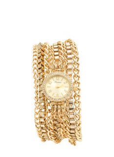 Rhinestone 'N Chain Wraparound Watch