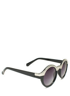 Metallic Two-Tone Circle Sunglasses