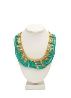 Metallic Bead Tribal Collar Necklace