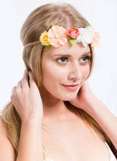 Faux Pearl Flower Braided Headband