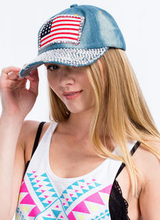 Jeweled American Flag Patch Denim Cap