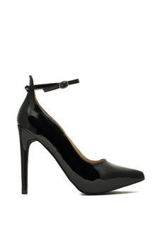 Faux Patent Leather Ankle Strap Heels