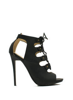 State Of Lace-Up Faux Leather Heels