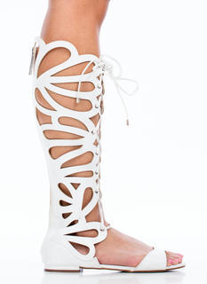 Teardrop Cut-Out Gladiator Sandals