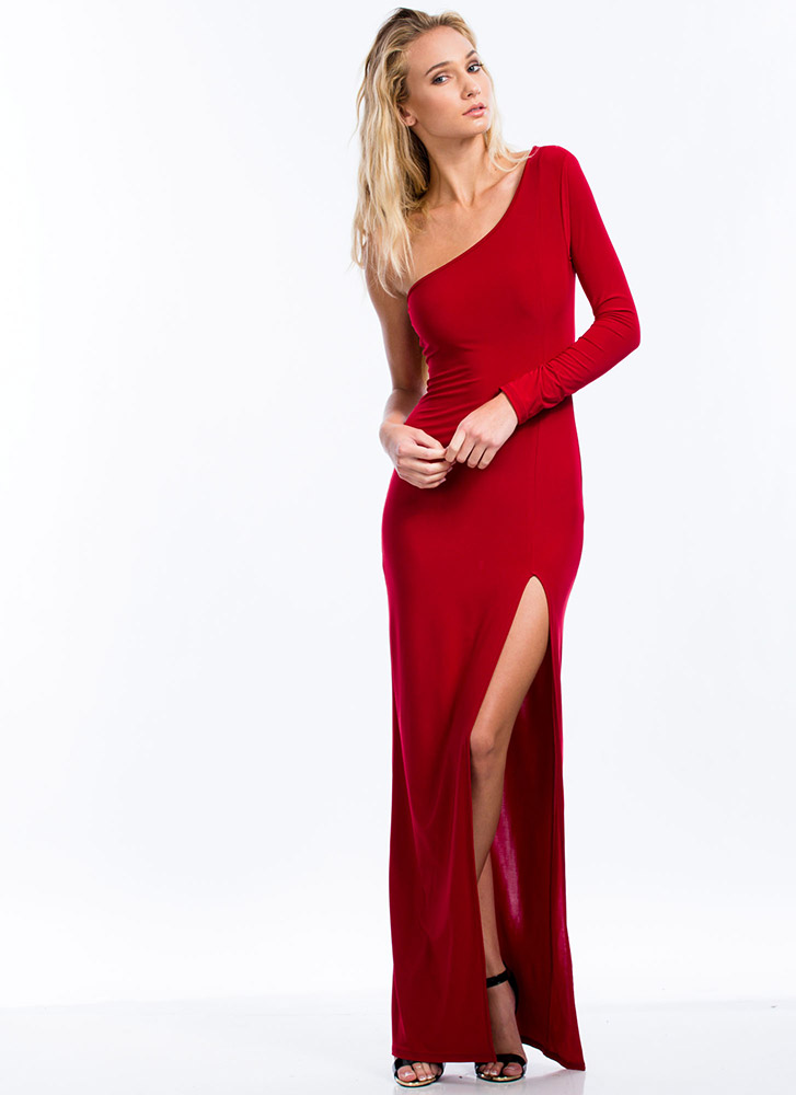 Take Sides One-Shoulder Slit Maxi