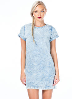 Cuffed Denim Shift Dress