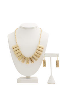 Bib Of Metallic Bars Necklace Set