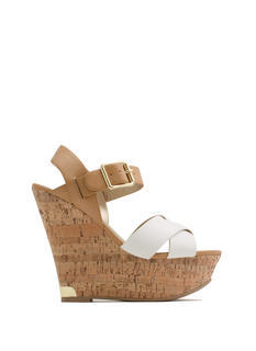 Crisscross-Fire Faux Leather Wedges