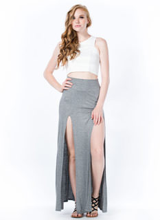 Double The Trouble Slit Maxi Skirt