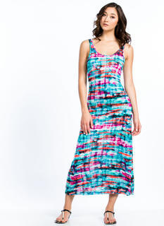 Abstract Watercolor Maxi Dress