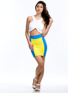Colorblock Talk Cut-Out Mini Skirt