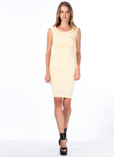 Holy Cowl Ruched Side Draped Dress