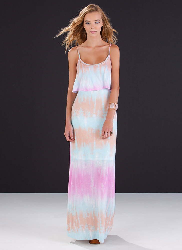 Play It By Tier Tie-Dye Maxi Dress