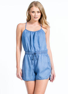 Play In Chambray Drawstring Romper