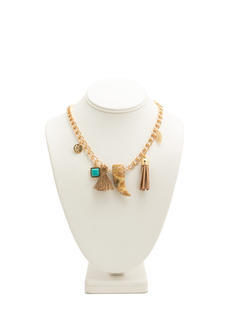 Tassels 'N Stones Charm Necklace