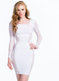 Lace To Lace Contrast Bodycon Dress