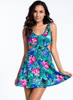 Tropical Nights Cut-Out Skater Dress