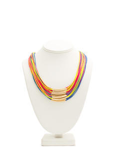 Layered Cord N Bar Necklace
