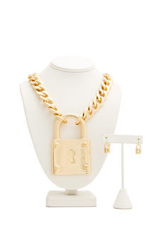 Oversized Lock 'N Chain Necklace Set
