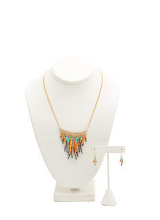 Beaded Fringe Charm Necklace Set