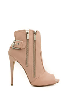 Double Zip Peep-Toe Booties