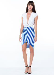 V Free Striped Pencil Skirt