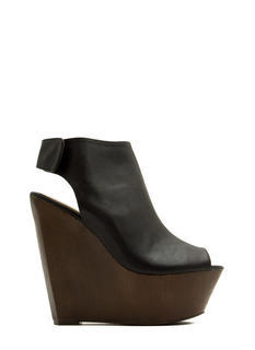 Faux Leather Mule Platform Wedges